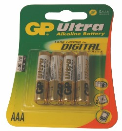 GP ULTRA 4-PACK AAA-BATTERIER